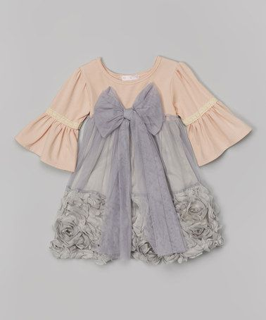 Look what I found on #zulily! Gray Bow Rosette Dress - Toddler & Girls by Blossom Couture #zulilyfinds