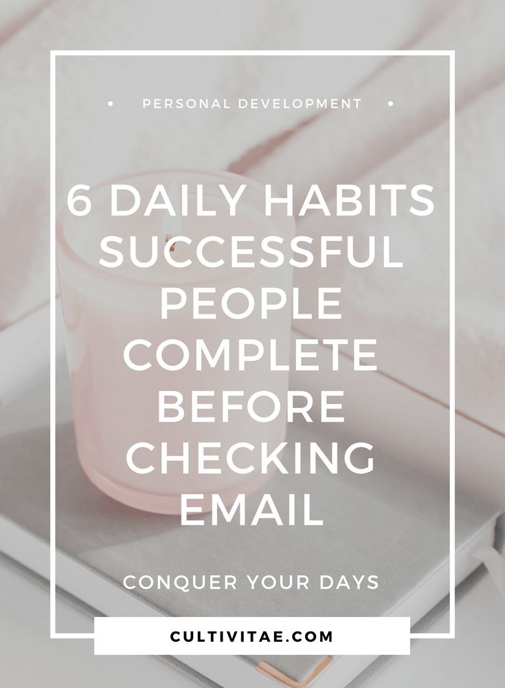 Have you heard of the Miracle Morning? It is an amazing book by Hal Elrod that helps you conquer your days. If you are into personal development, then definitely give it a read! Here are 6 daily habits successful people complete before checking their email. #personaldevelopment #lifestyledesign #lifestyleblog #morningroutines #miraclemorning #habits