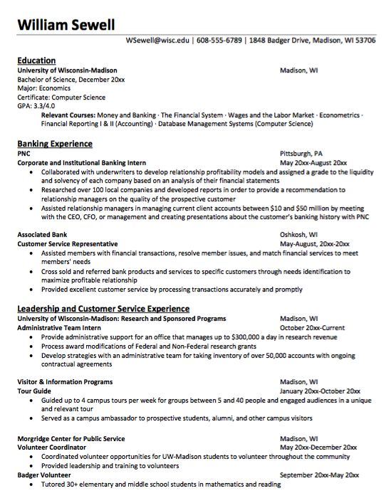 Economics degree resume