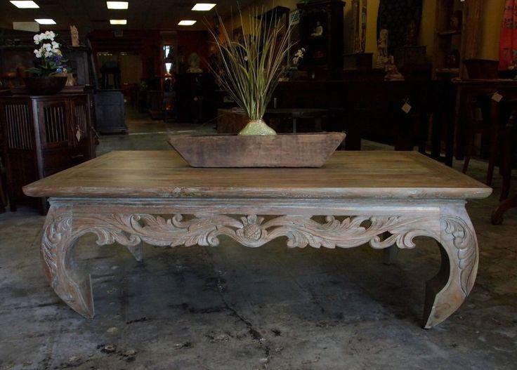Carved Reclaimed Teak Opium Coffee Table from GadoGado. Indonesian /  Bali Furniture