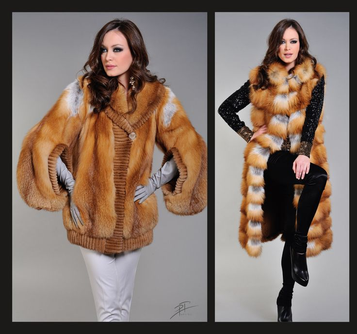 Canadian Fox Fur Jacket (left) and Long Vest (right).