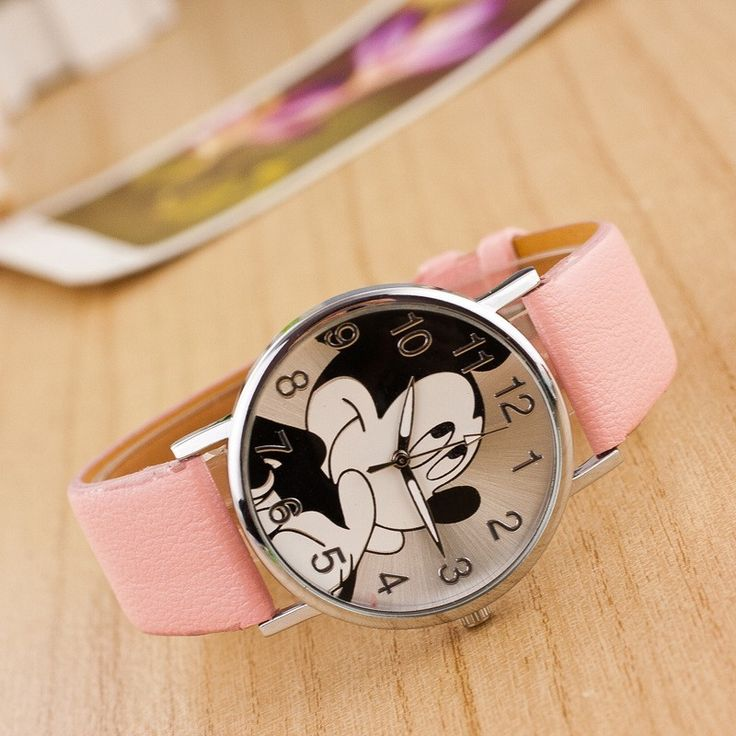 Cartoon Fashion Mickey Mouse watch women unisex Leather quartz wristwatch For Children watches - free shipping worldwide