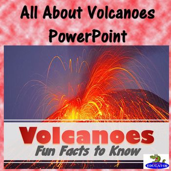 Students will enjoy learning about volcanoes with this 26 slide animated PowerPoint. Informative text on volcano types and shapes, how and what is an eruption, how eruptions are measured, the difference between lava and magma, fun facts, famous volcanoes and more. 2016 HappyEdugator.