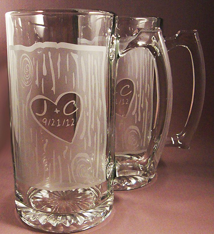 Personalized Etched Rustic Wedding Beer Mugs for Bride and Groom