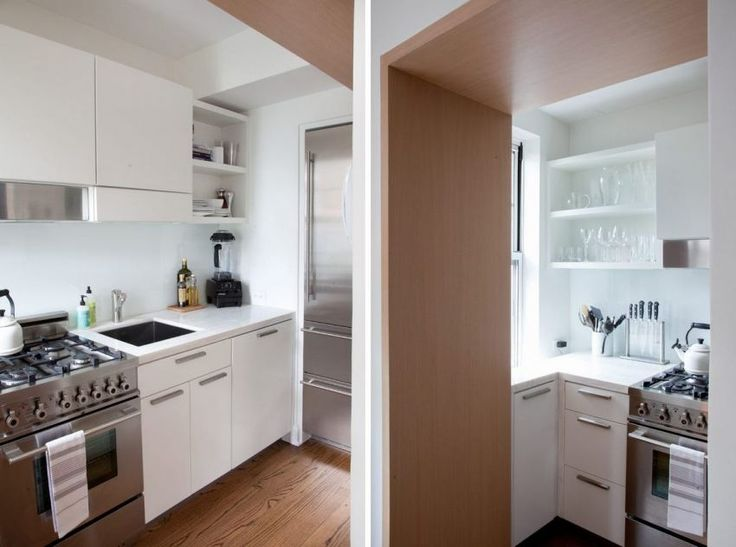 Kis fehér konyha, rozsdamentes gépekkel