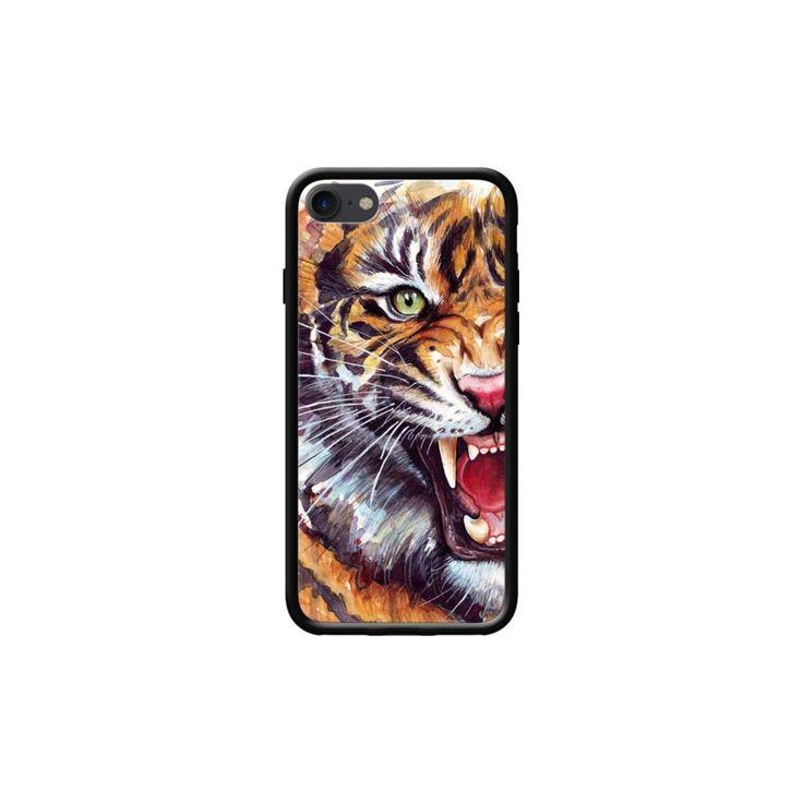 Coque Pour Apple Iphone 7 Côtés Silicone Noir Brillant Angry Tiger Watercolor …