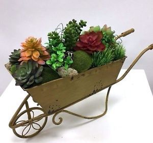 Antique Yellow Wheelbarrow Metal Planter  Floral Arrangement   | eBay