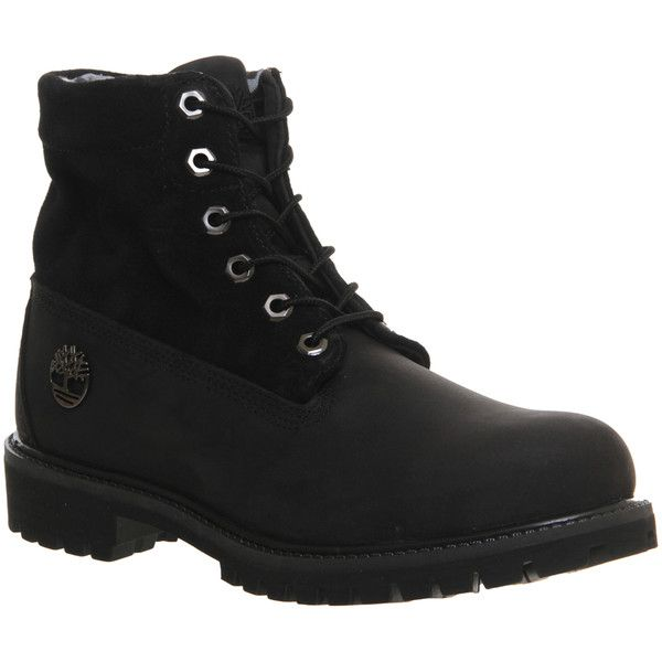 Timberland Roll Top Boots ($95) ❤ liked on Polyvore featuring men's fashion, men's shoes, men's boots, shoes, axel pierce, boots, casper schneider, men, black camo and mens black boots