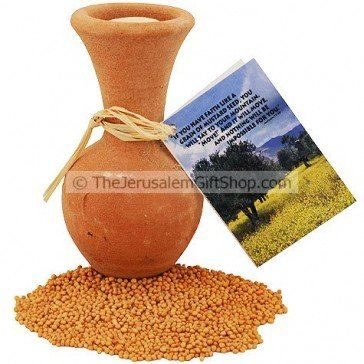 Mustard seeds from the Holy Land inside a clay pot with cork.