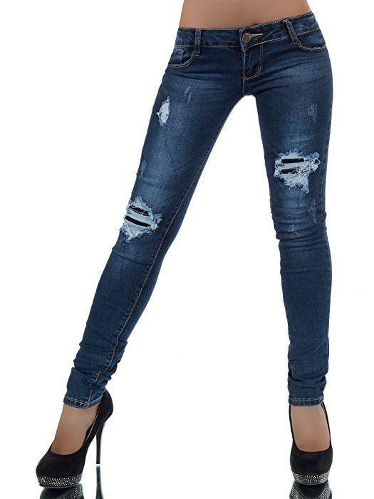 L788 Damen Jeans Hose Hüfthose Damenjeans Hüftjeans Röhrenjeans Röhrenhose Röhre, Farben:Blau;Größen:34 (XS)