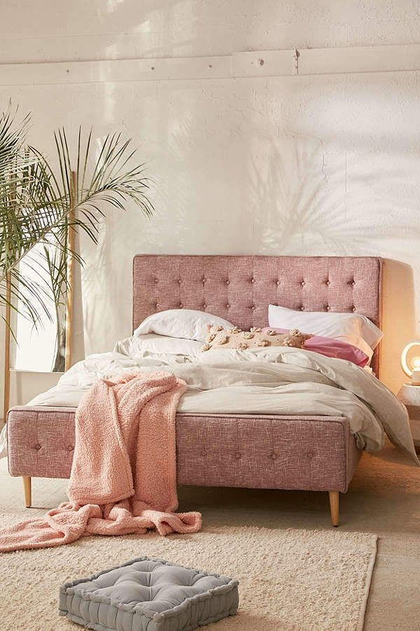 Urban Outfitters Layla Upholstered Bed Frame Scandinavian