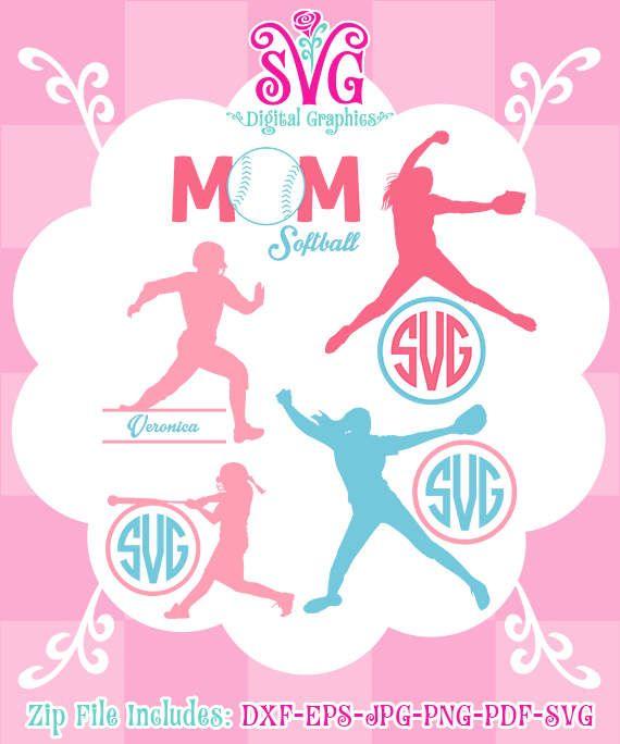 Softball MomSVG, Softball Player monogram, Softball Mom SVG Files, Sport Cut File Design, Instant Download, 023-DG