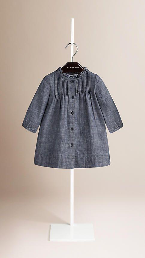 Light indigo Ruffle Neck Cotton Dress - Image 1