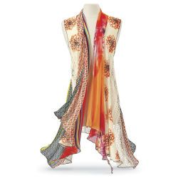 Blossom Print Draped Vest, Size 2 - 28W| ElegantPlus.com Editor's Pick