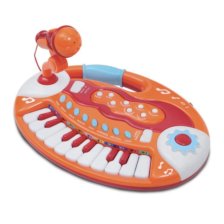 Speel de mooiste nummers op dit keyboard van Bontempi. Kies met behulp van de verschillende knoppen een instrument en druk op de toetsen om de klanken ter gehore te brengen. Met behulp van de speciale toetsen bovenin speel je drumritmes af of neem je je eigen nummers op. Zing tegelijkertijd door de microfoon op de standaard en laat iedereen genieten van je muziek. Het keyboard is gemaakt van stevig kunststof in vrolijke kleuren. Batterijen niet inbegrepen. Afmeting: 31 x 22,5 x 5 cmBenodigde…