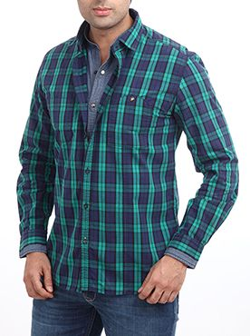 Add a dash of charm to your look with this colorful dark blue shirt. Presented to you by the leading brand Parx Jeans for the fashion conscious generation, the top garment features a shirt with a collar and cuff. The checkered dark blue and green shirt is well-suited for special occasions and evenings. Pair this shirt with a dark blue or black jeans for a superb look. Best suited for youngsters and teens, the slim fit shirt is sure to attract a lot of admirers. Created from 100% cotton ...