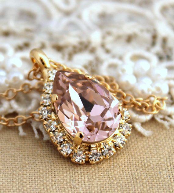 Pink blush Crystal necklacebridesmaidsBride jewelry by iloniti