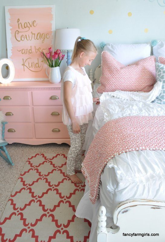 LOVE This girl's bedroom makeover I love the pops of coral, gold and mint!