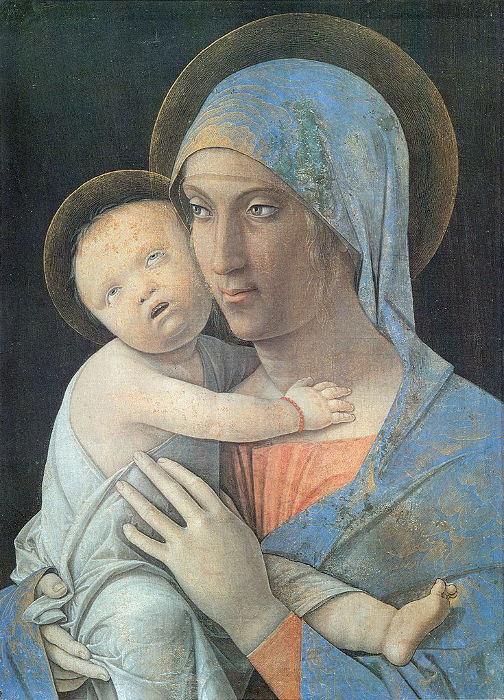 Mantegna's Madonna and Child, circa 1460. It's said that Andrea Mantegna's child had Down's Syndrome and he was cherished and loved by his family, which is really saying something because people of that time were even less intolerant of mental disability than they are now.