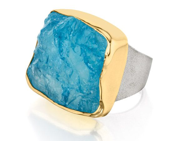 Symmetry: 18kt Gold & Sterling Silver Ring with Rough Aquamarine