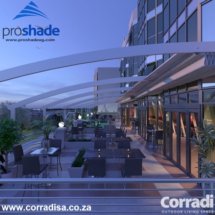 This is a design for a public lounge in Nairobi, Kenya and was done by our East African dealer Proshade. The design incorporated the Corradi Pergotenda Flux.