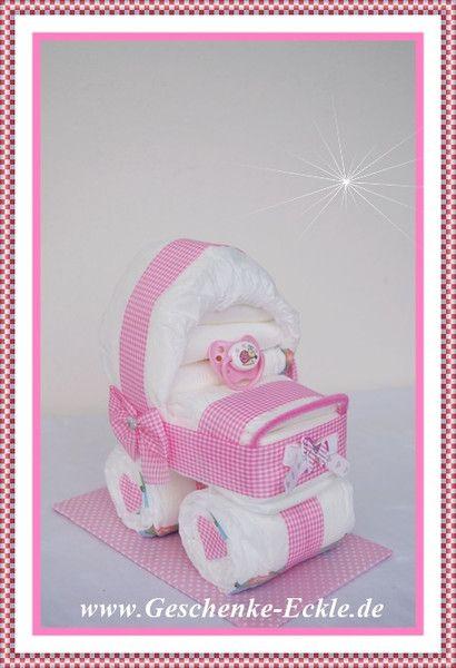 Windeltorte Kinderwagen  Windeltorte von Geschenke-Eckle auf DaWanda.com
