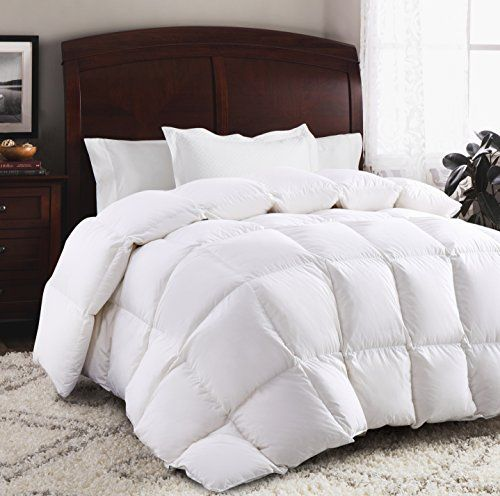 ROSECOSE Luxurious Goose Down Comforter All Seasons Lightweight Solid White Hypo-allergenic Duvet Insert 700 Thread Count 750+ Fill Power 100% Cotton Shell Down Proof With Tabs (King, White)  King Size Down comforter is 106 x 90 inches  750+ Fill power, 46 Oz Fill Weight, 100% Fill with Goose Down  Luxurious 700TC 100% Cotton Cover with Tabs ,Hypo-allergenic, Allergy Free  Luxury Goose Down comforter provides warmth for year-round comfort  Brand New Factory Sealed in Beautiful Zippered...