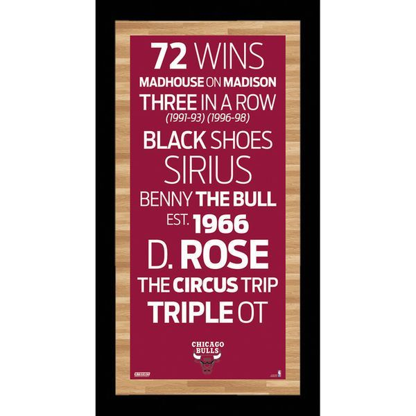 Steiner Sports Chicago Bulls 9u0027u0027 X 19u0027u0027 Framed Subway Sign   Red