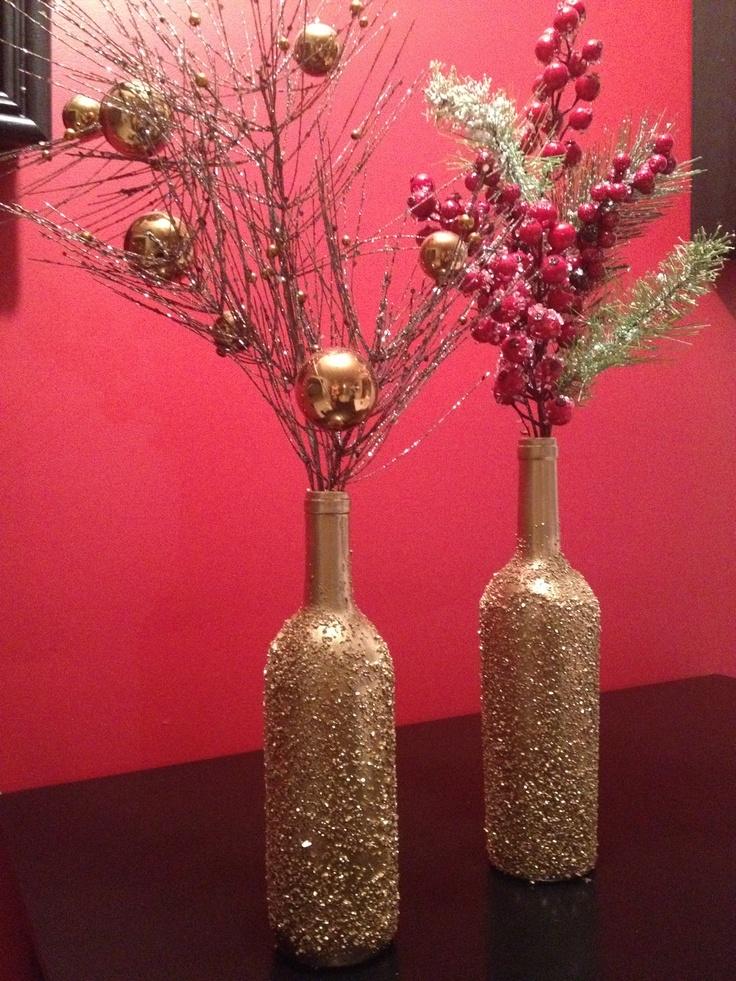 Epsom salt gold spray paint diy christmas wine bottle for Diy wine bottle crafts pinterest