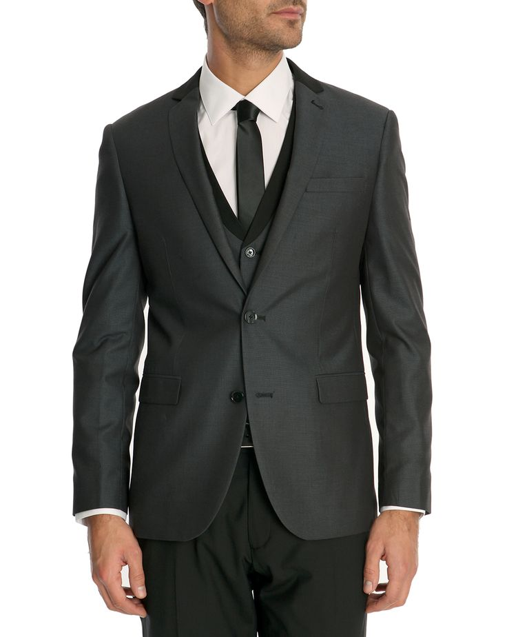 bahamas grey suit jacket with silk lined collar celio club - Celio Costume Mariage