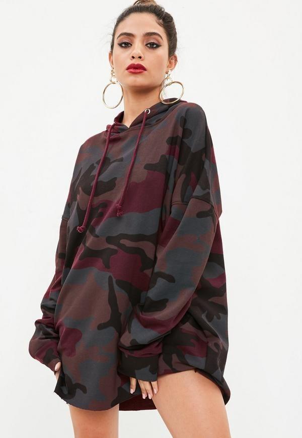 c1fb28c685 A dress in a burgundy hue with camo print
