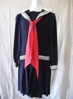 Vintage 30s Sailor Style DOLLY Drop Waist Dress XS Middy Girly