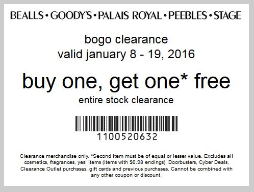 Pinned January 10th: Second clearance item free at #Bealls Goodys Palais Royal Peebles & Stage Stores or online via promo code 1100520632 #coupon via The #Coupons App