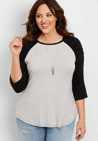 d07a761cd0524 plus size 24 7 striped ruched sleeve baseball tee - alternate image ...