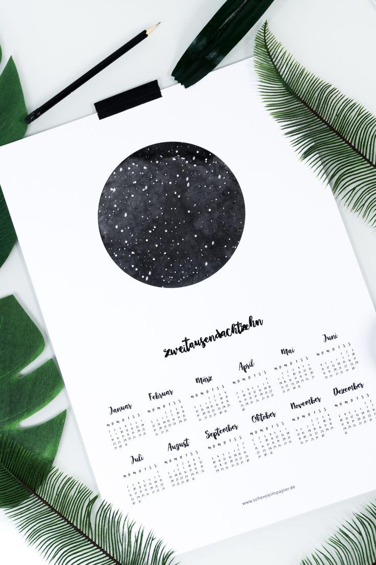 Kalender 2018 free Printable | gratis Kalender für das ganze Jahr zum Ausdrucken | kostenloses Freebie | Schwarz Weiß | DIY Kalender | Poster | Skandinavisches Design | Living | DIY Wohnen | #kalender #printable #freebies #Kalender2018