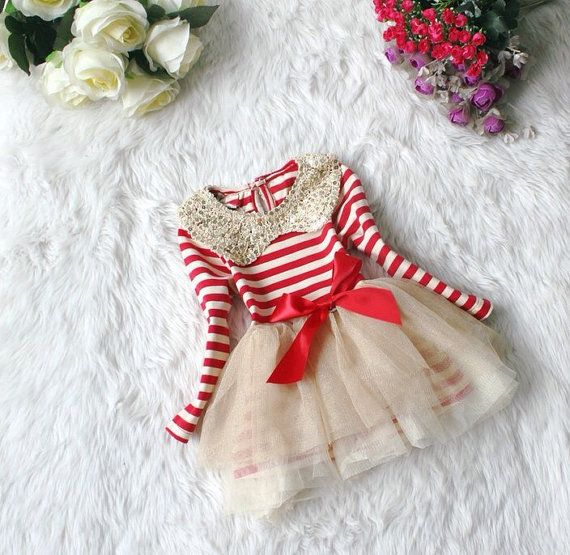 Toddler Baby Infant Girl Dress Red Off White Stripe