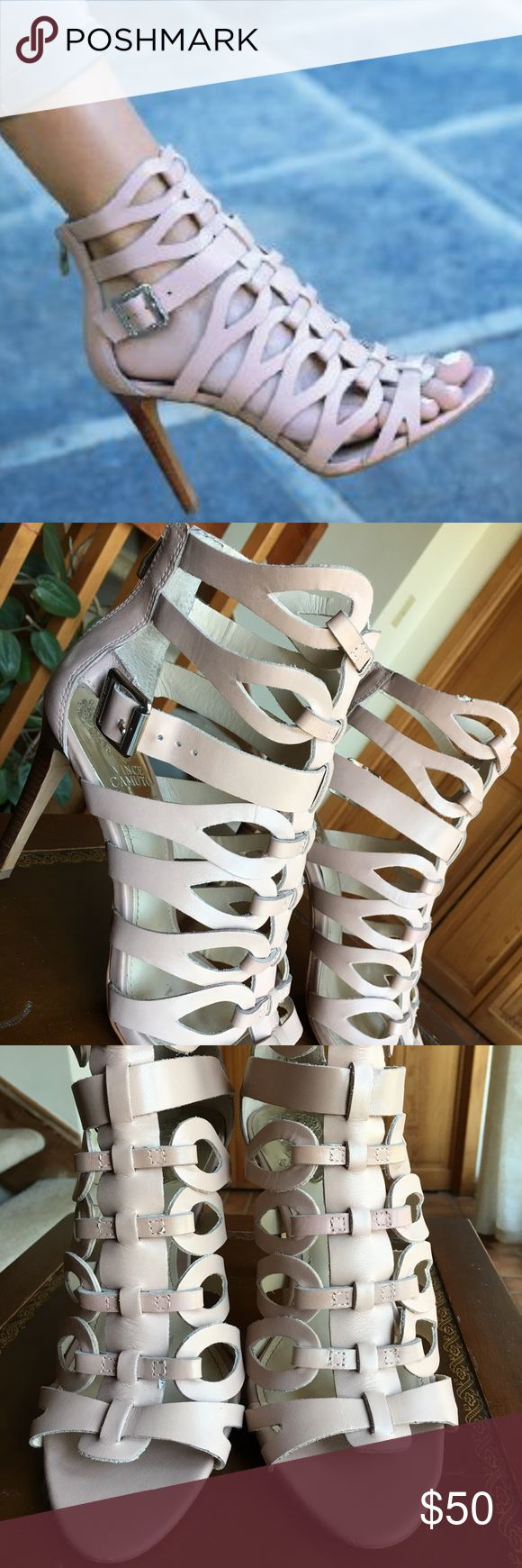 Vince California blush color caged heel sandals Gently worn Vince California blush color caged heel sandals. Worn 3 times. Soft leather. Vince Camuto Shoes Sandals