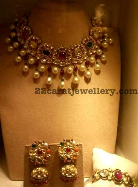Navaratan Choker Bangle and Earrings