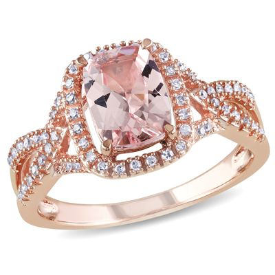 Le Vian 174 Peach Morganite And 3 8 Ct T W Diamond Frame