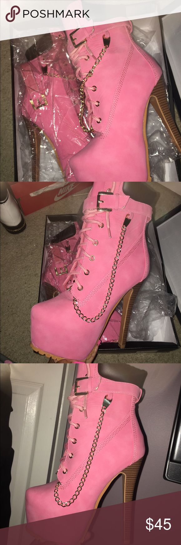 Pink Timberland Boot Heels (Pink Timberland Boot Heels) Size: 7.5 Heels: 7in platform Shoes Heeled Boots