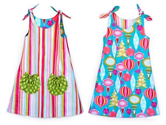 Tie Top Dress Pattern. Girls Dress Pattern. PDF by AngelLeaDesigns, $11.50