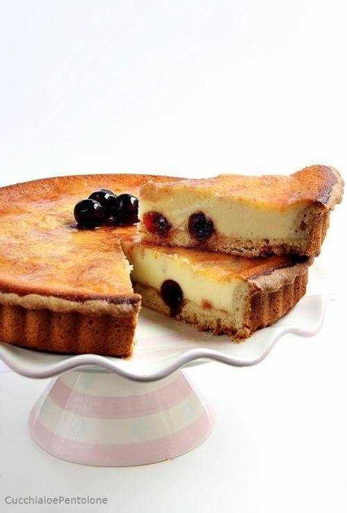 Crostata al flan di amarene sciroppate | Cucchiaio e Pentolone