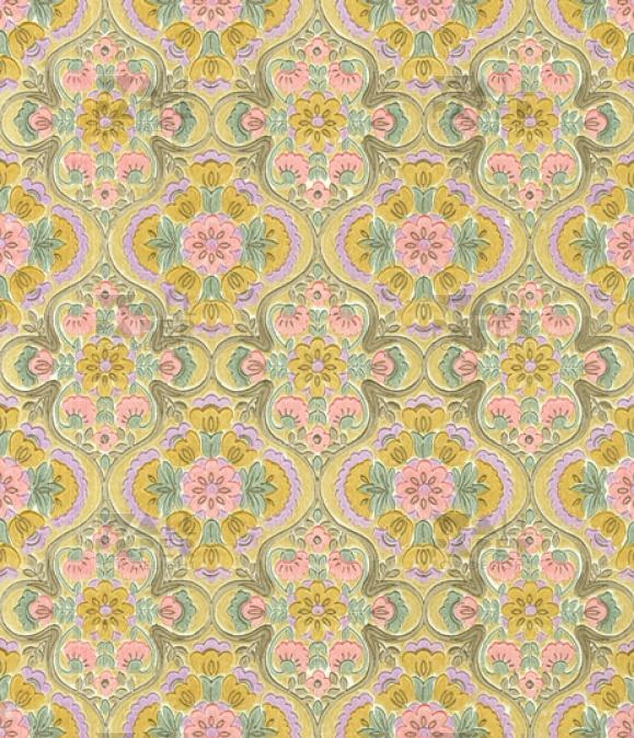 Vintage behang - Roze bloem 1079