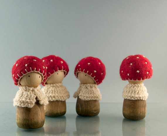 Mushroom wooden peg doll made of maple and wool by Pojga on Etsy