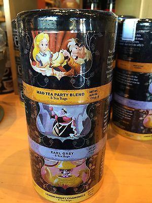 disney parks alice in wonderland 24 tea bag gift set 3 nesting tins new sealed