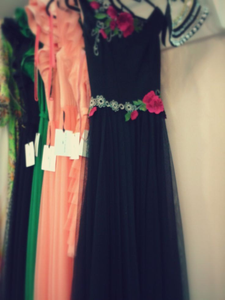Black evening dress with embroidery