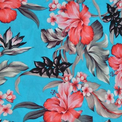 Tropical Viscose Print - Turquoise • Shop • Remnant Kings