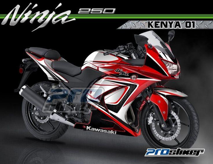Modifikasi Ninja 250R Karbu Warna Merah Motif KENYA 01 Merah Prostiker