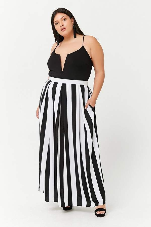 177bacb069 Forever 21 Plus Size Striped Box Pleat Maxi Skirt | Plus Size Skirts ...