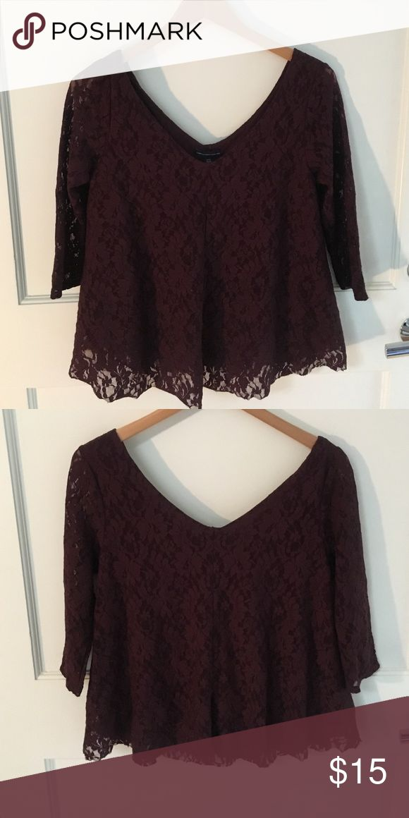 AE Outfitter Maroon Lace Top Excellent condition American Eagle Outfitters Tops
